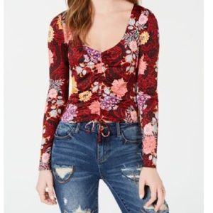 Guess Elysian Floral Mikah Ruched Long Sleeve Top